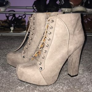 Nude chunky ankle boots